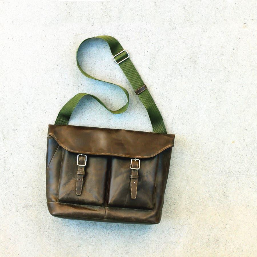 銀付き 本革 ショルダーバッグ メッセンジャーバッグ 1