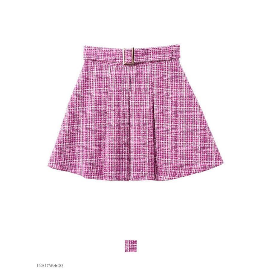 フェイクベルト付♪ボックスプリーツツイードスカート|DB|LX|SE 終局