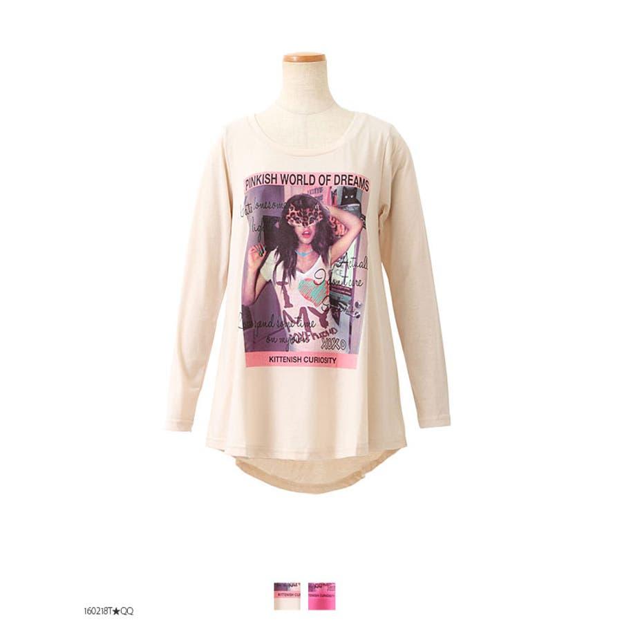 かわいい!おすすめ 裏襟ぐりレース付きプリントフレアミディアム丈裾テールカット長袖Tシャツトップス|MR|GL|CS|| 駁雑