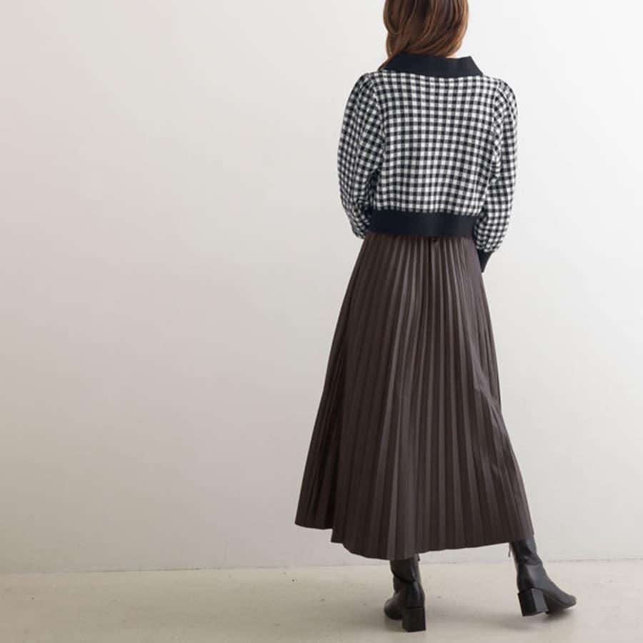 ニット トップス ギンガムチェック ジャガード デザイン襟 ブラック 黒 F 韓国 オルチャン 春 秋 冬 4
