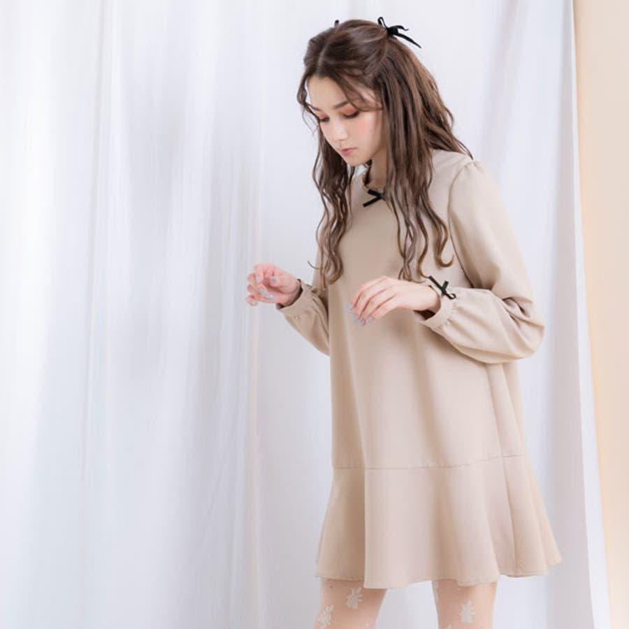 シンプルヘムフレアガーリーワンピース 韓国 オルチャン 夢展望 3