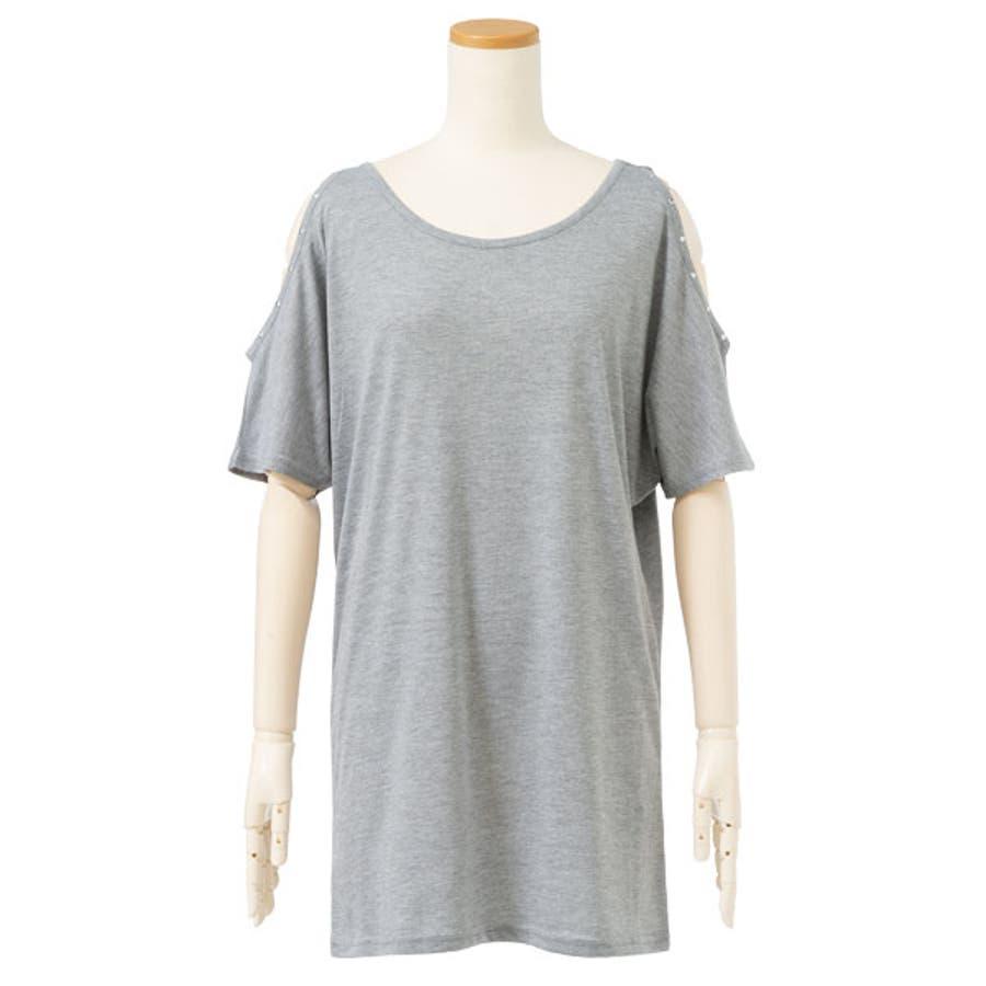Tシャツ メタル付き 肩開き 23