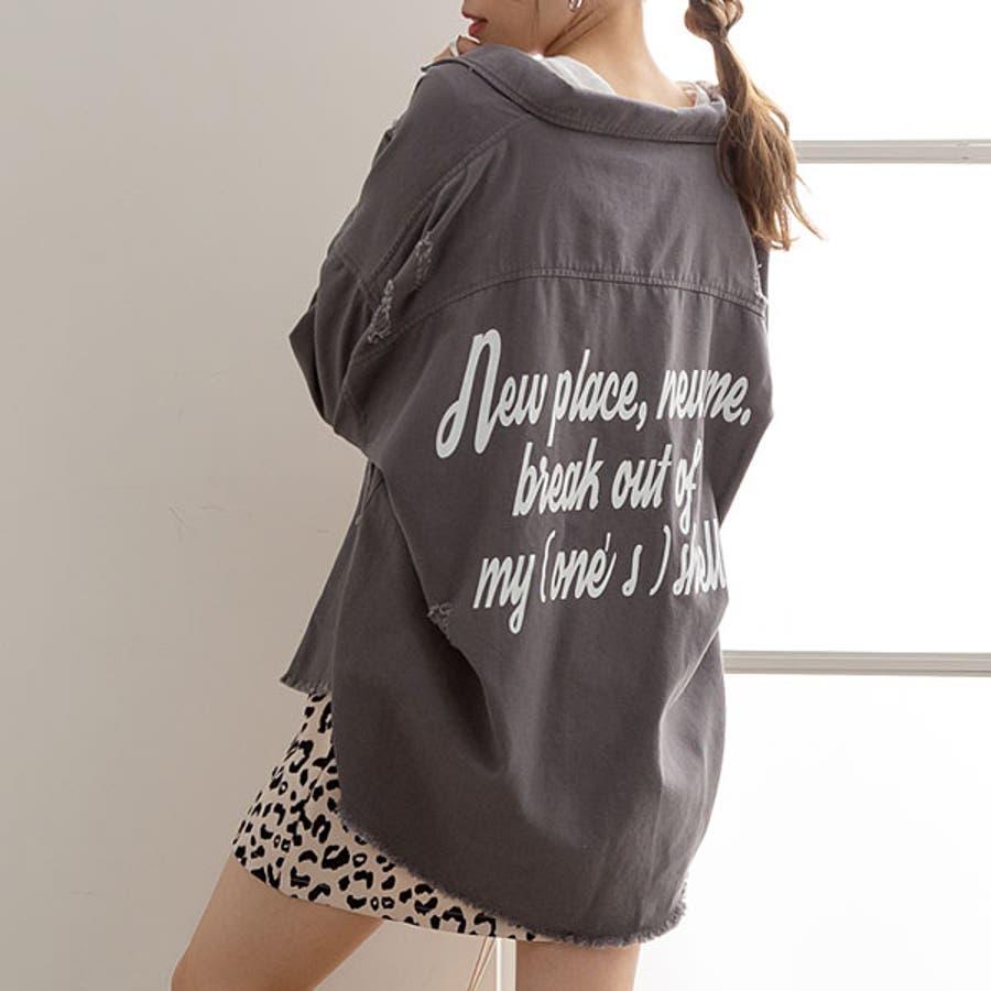 シャツ バックメッセージ オーバーサイズ ゆったり 体型カバー キナリ ベージュ グレー ブラック パープル 黒 M 韓国 オルチャン 春 秋 冬 23