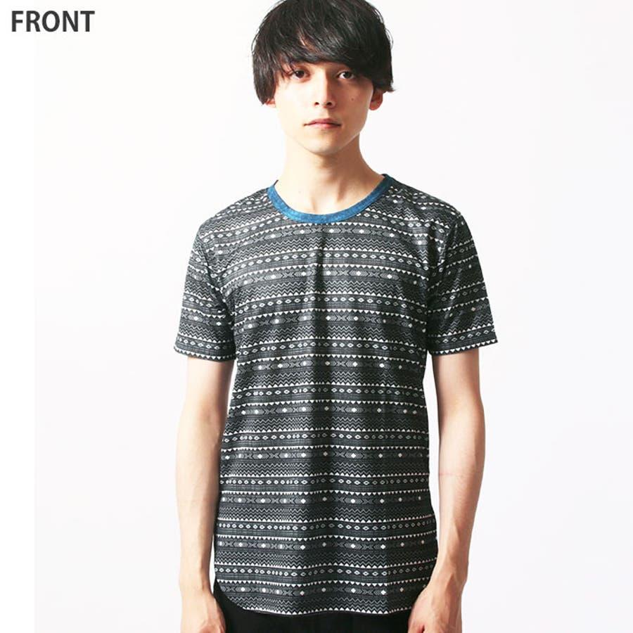 メンズ 裾ラウンド 総柄Tシャツ 半袖Tシャツ 「839-05」【MG50】 8