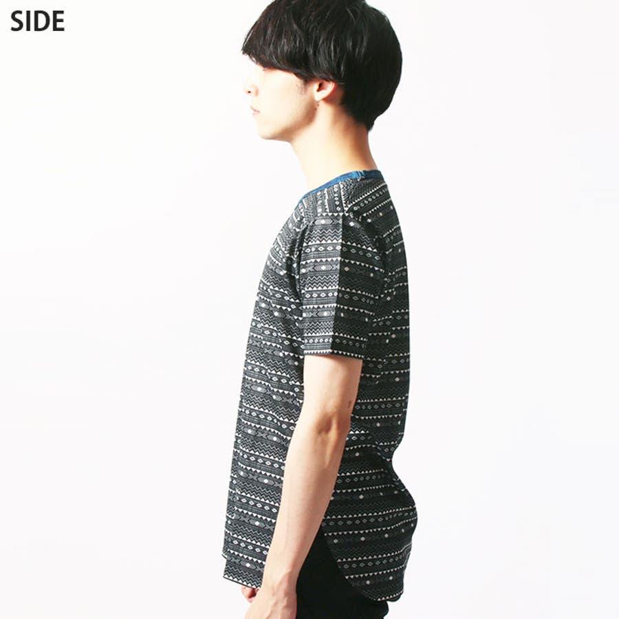 メンズ 裾ラウンド 総柄Tシャツ 半袖Tシャツ 「839-05」【MG50】 9