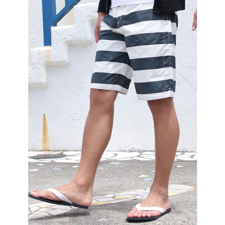 メンズ サーフパンツ 海水パンツ 海パン 水着 ハーフパンツ 半ズボン スイムウェア スイムウエア サーフショーツ 無地ボーダー総柄プリント「839-22」【MG20】 20