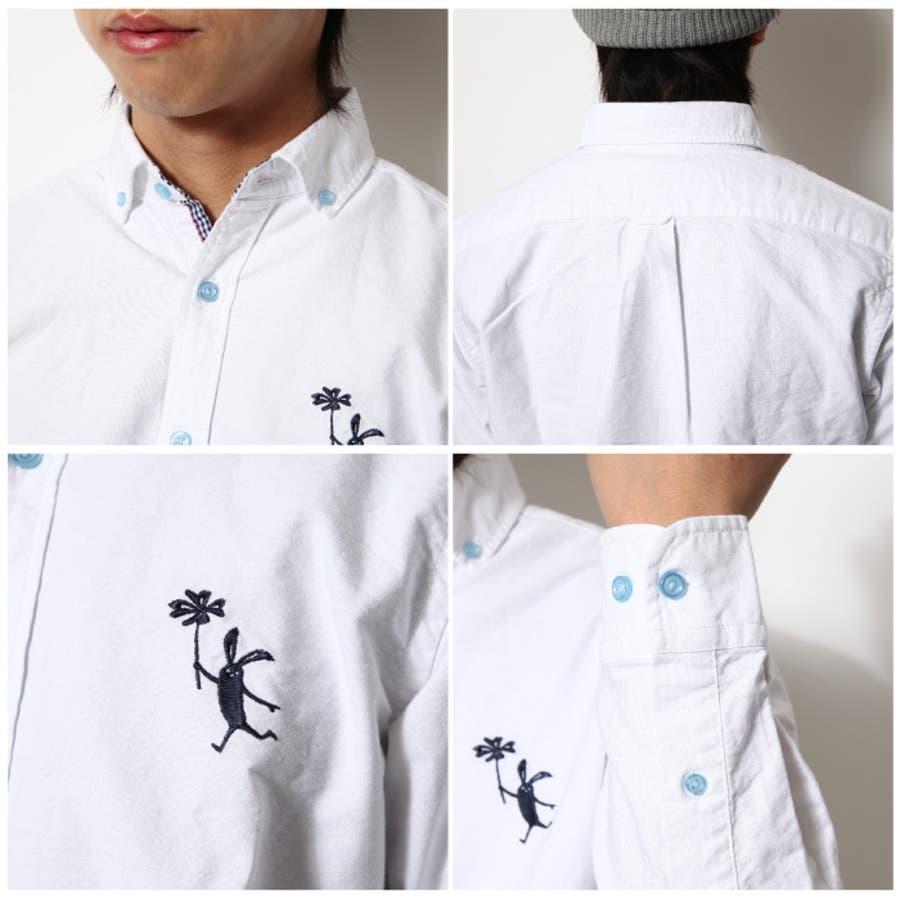 オックスシャツ メンズ/メンズファッション/ワンポイント 刺繍 オックスフォード 長袖シャツ[zip,