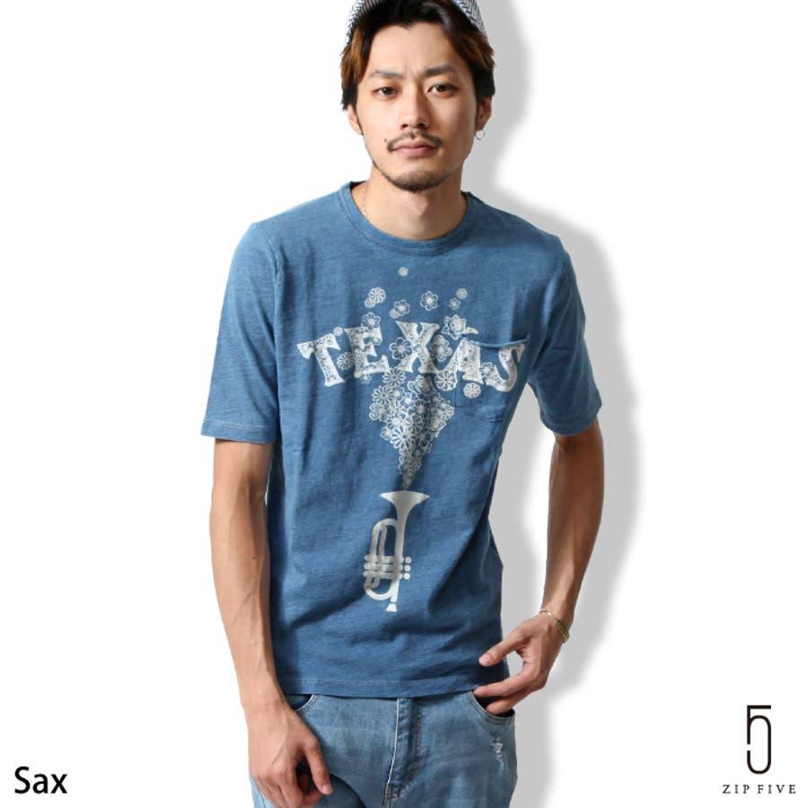 きちんとして見える メンズファッション通販Tシャツ メンズ メンズファッション 春 春服 春物 夏 夏服 夏物 カットソー インディゴ デニム フラワー 花柄 ポケットクルーネック 半袖  zip-cs  16-ic-073 依然