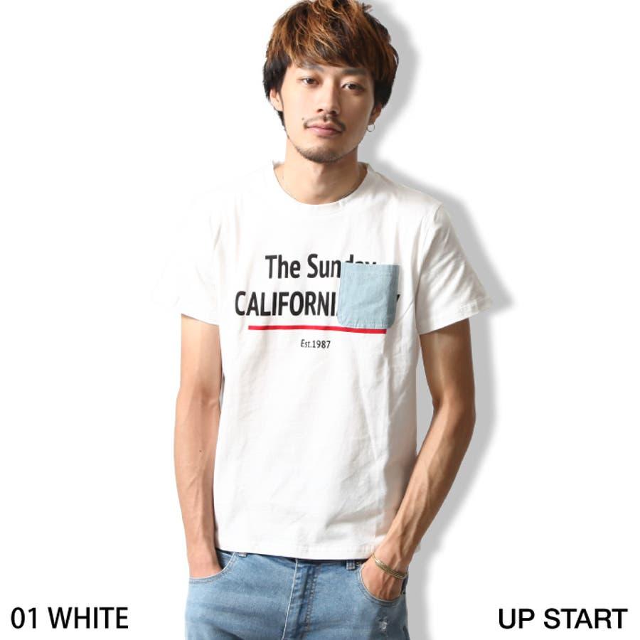 高級感があり、コスパが高い Tシャツ メンズ メンズファッション 春 春服 春物 夏 夏服 夏物 カットソー 半袖 クルーネック プリント デニム ポケット付き zip-cs  55081351 経営