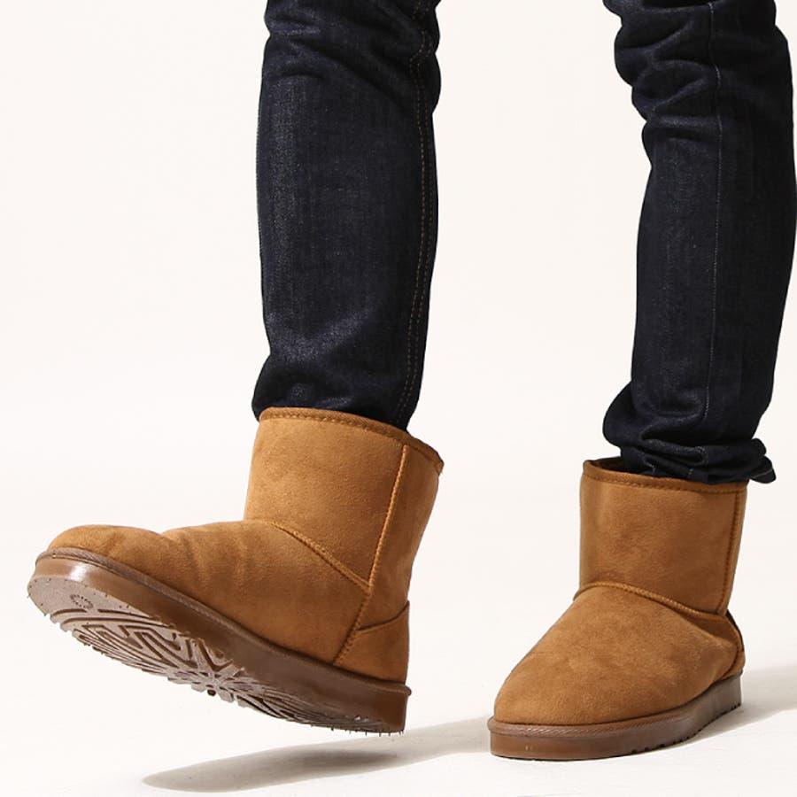 ムートンブーツ メンズ/メンズファッション/秋冬 秋 冬 靴 ボア ムートン フェイクムートン ショート ファーブーツ ブーティあったかブーツ [zip-cs]【2319】 4