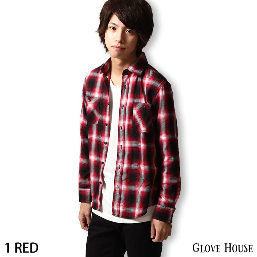 カジュアルシャツ メンズ/メンズファッション/チェックシャツ オンブレチェック柄 柄シャツ 長袖 レギュラー
