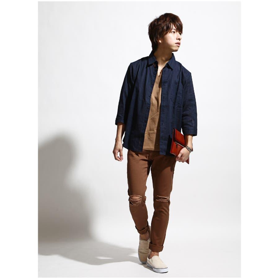 シャツ メンズ/メンズファッション/コットンシャツ カジュアルシャツ ナチュラル レギュラーシャツ 7分袖
