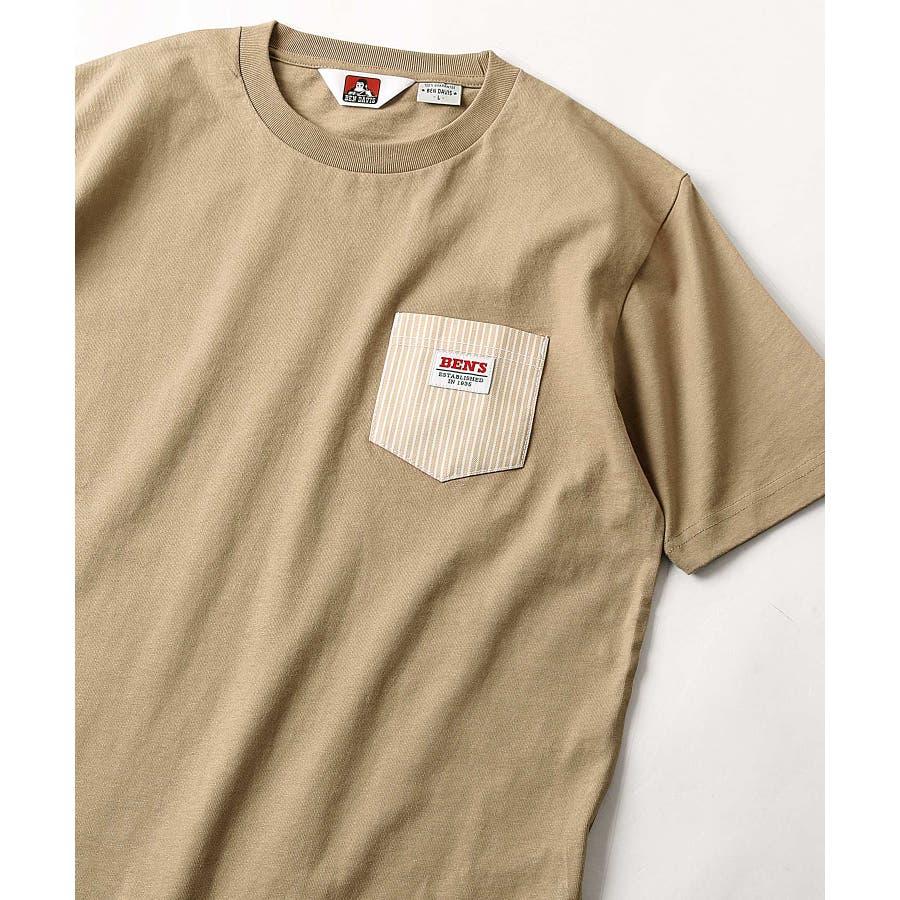 #Tシャツ メンズ カットソー 半袖 クルーネック ポケット付き ワンポイント 無地 別注 BEN DAVISベンデイビスZIPジップ 夏 夏物 夏服【9580044】D 46