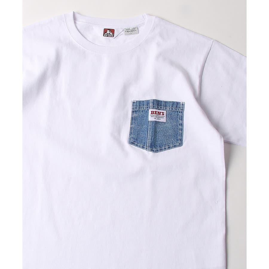 #Tシャツ メンズ カットソー 半袖 クルーネック ポケット付き ワンポイント 無地 別注 BEN DAVISベンデイビスZIPジップ 夏 夏物 夏服【9580044】D 20