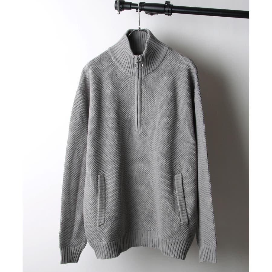 鹿の子編み綿ニットハーフジップ【171939bn】 23