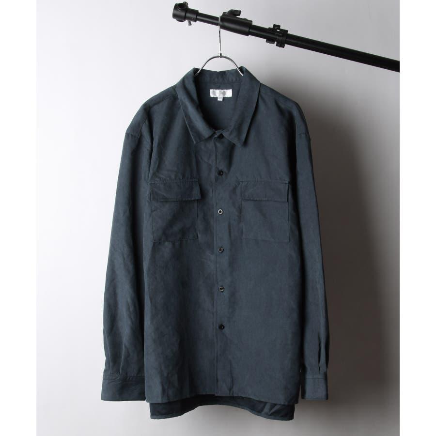 ピーチ加工微起毛フラップ付きレギュラーシャツ【19036-32nz】 64