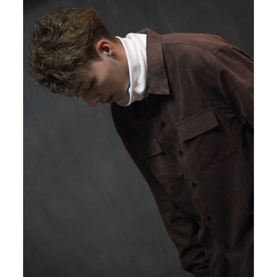 ピーチ加工微起毛フラップ付きレギュラーシャツ【19036-32nz】 29