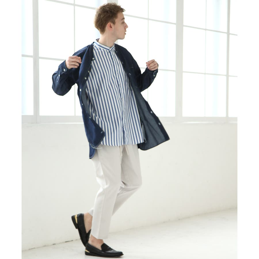 デニムバンドカラービッグシャツコート【br19ss01】 6