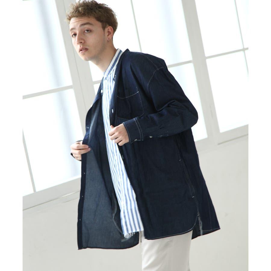 デニムバンドカラービッグシャツコート【br19ss01】 64