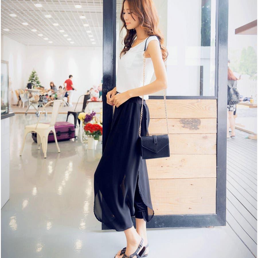 レイヤードシフォンパンツ ボトムス シフォンパンツ ハーレムパンツ スカーチョ クロップド レディース 透け感 ゆったりゆるシルエット ブラック シンプル カジュアル ファッション 大きいサイズ サイズ豊富 4