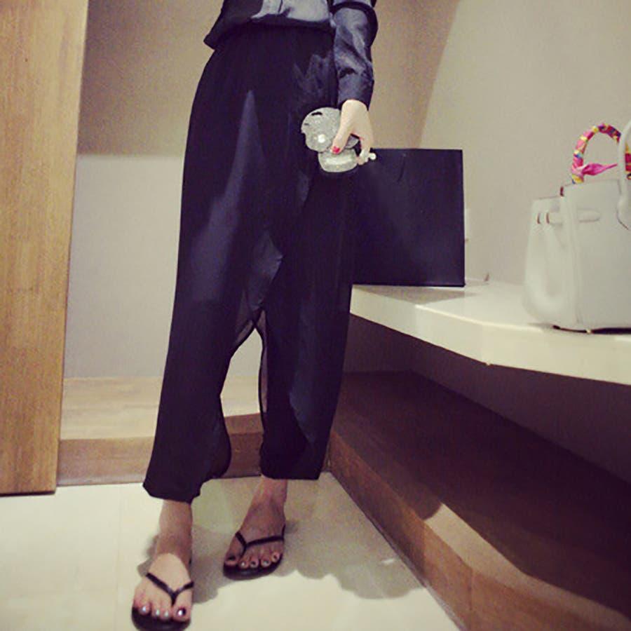 レイヤードシフォンパンツ ボトムス シフォンパンツ ハーレムパンツ スカーチョ クロップド レディース 透け感 ゆったりゆるシルエット ブラック シンプル カジュアル ファッション 大きいサイズ サイズ豊富 7