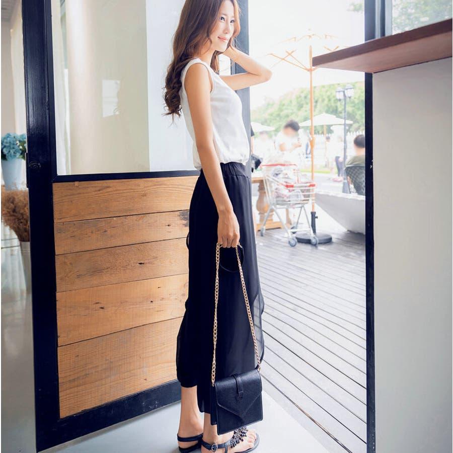 レイヤードシフォンパンツ ボトムス シフォンパンツ ハーレムパンツ スカーチョ クロップド レディース 透け感 ゆったりゆるシルエット ブラック シンプル カジュアル ファッション 大きいサイズ サイズ豊富 5