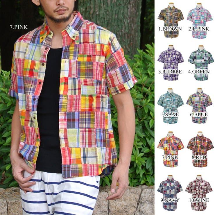 パッチワークシャツ メンズ 半袖シャツ チェックシャツ アメカジ レッド グリーン パープル ブルー オレンジ ピンク インド綿カジュアルシャツ クールビズ