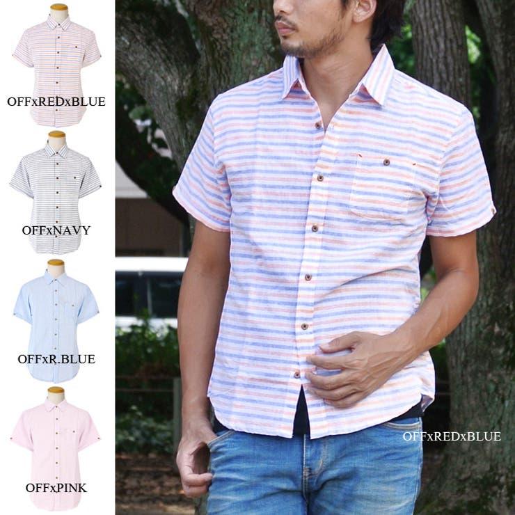 綿麻 ボーダーシャツ 半袖 メンズ カジュアルシャツ リネン 半袖シャツ リネンシャツ gl-146-6402