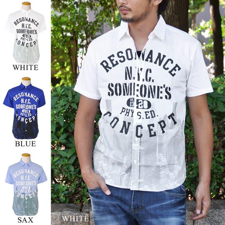 カレッジプリント 半袖 シャツ メンズ レディース カジュアルシャツ 半袖シャツ 白 ブルー サックス ホワイト ナチュラル大人カジュアル gl-146-6408