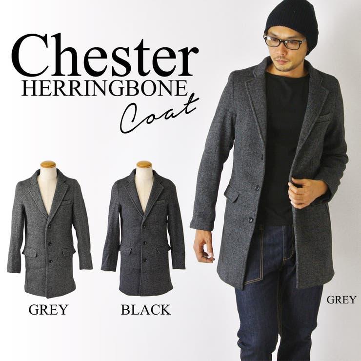 チェスターコート メンズ ヘリンボーン コート ミディアム丈 シングルコート ショップコート lh-t215527