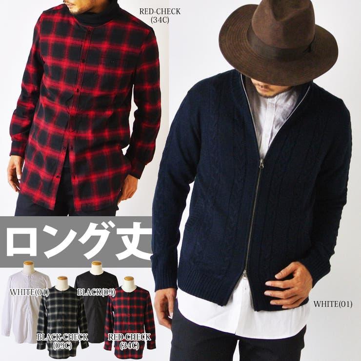 ロング丈 ノーカラー シャツ メンズ 長袖 ロングシャツ ブラック pm-254006m