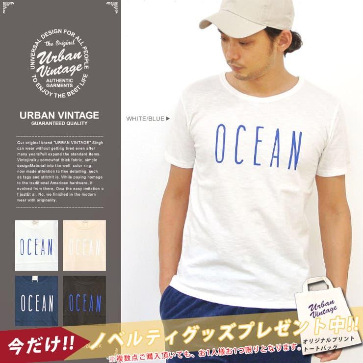 OCEAN Tシャツ メンズ 半袖 カットソー アメカジ カジュアル プリントTシャツ オリジナル プリント 半袖Tシャツ ブランドトップス インナー 重ね着 TEE スラブ トップス レディース 大きいサイズ XL
