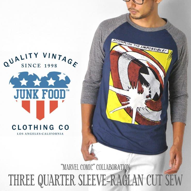 ジャンクフード JUNK FOOD Tシャツ 七分袖 ラグラン MARVEL キャプテンアメリカ マーベル HERO アメコミ メンズJUNKFOOD Tシャツ ラグランTシャツ メンズ