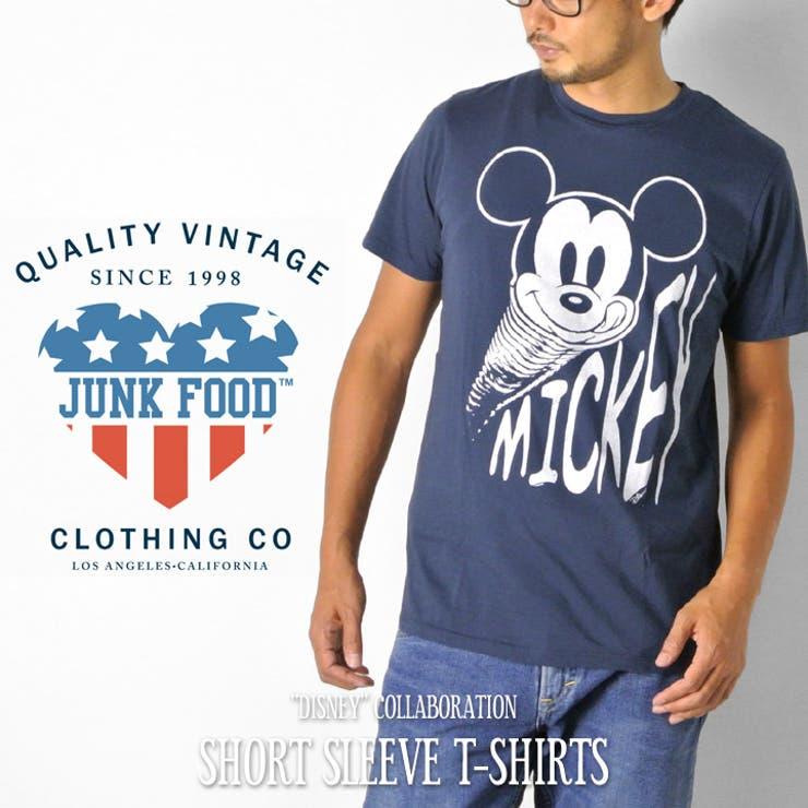 JUNKFOOD Tシャツ メンズ 半袖 ミッキー マウス Mickey Mouse プリントTシャツ 半袖Tシャツ ブランドビンテージ ヴィンテージ オシャレ ジャンクフード