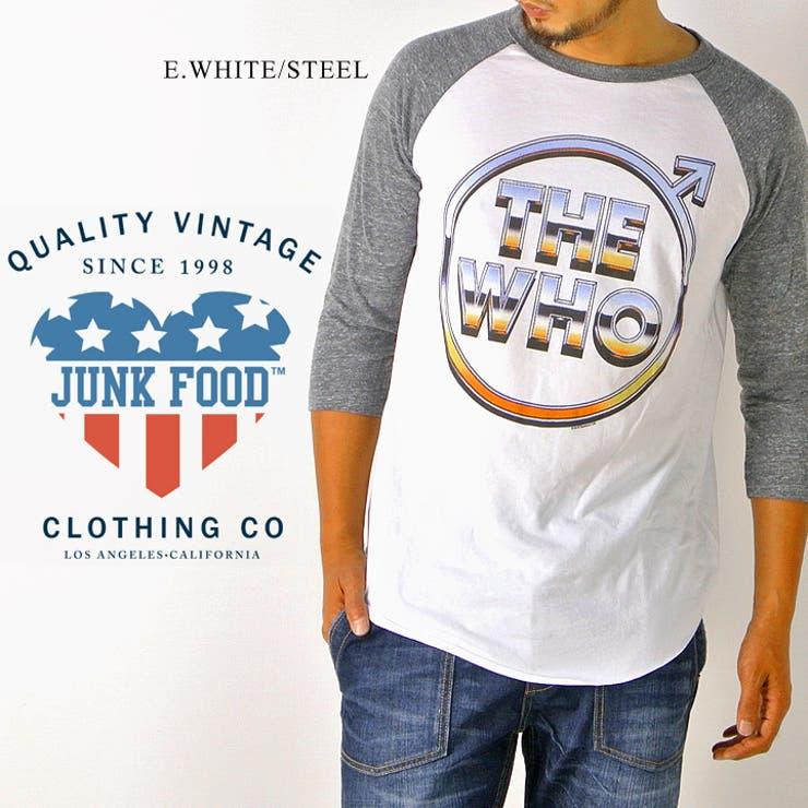 JUNK FOOD Tシャツ メンズ ラグランTシャツ ロックTシャツ The Who プリント ヴィンテージ バンドTシャツ7分Tシャツ ビンテージ BBアンダーTシャツ