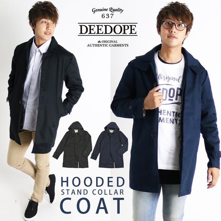コート メンズ DEEDOPE ステンカラー フード モッズ シングルコート ロング カジュアル アウター メンズファッション 秋冬冬物