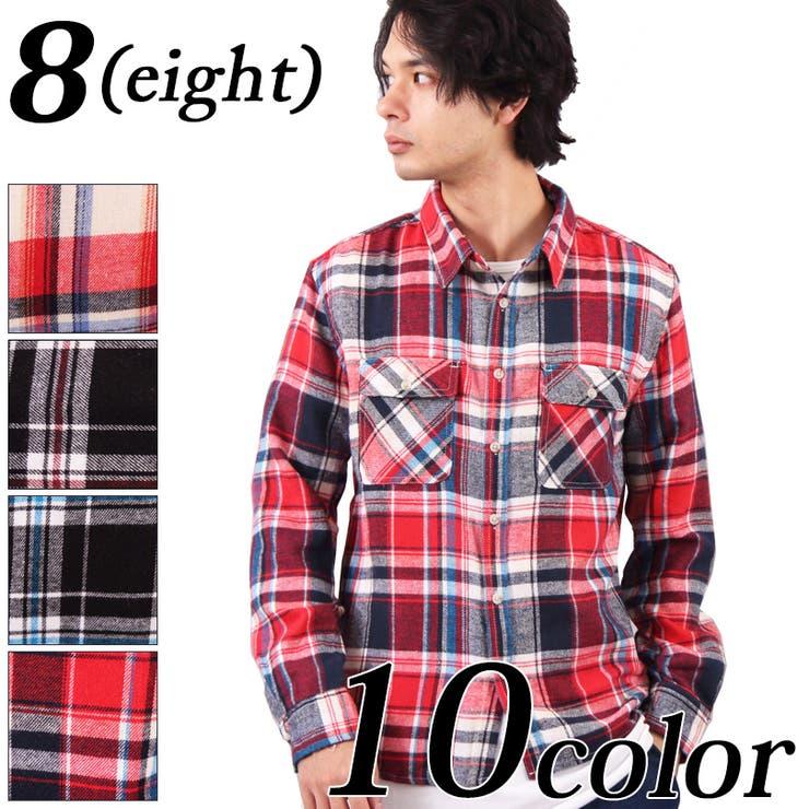 チェックシャツ ネルシャツ メンズ   8(eight)    詳細画像1