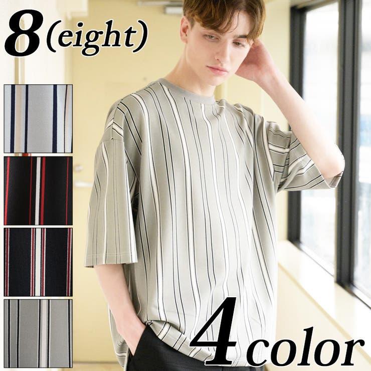 ストライプオーバーTシャツ メンズ 半袖Tシャツ   8(eight)    詳細画像1