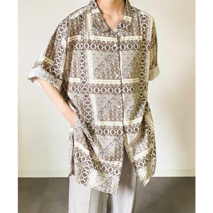モロッコタイルパターン開襟ビックシャツ   Diosfront   詳細画像1