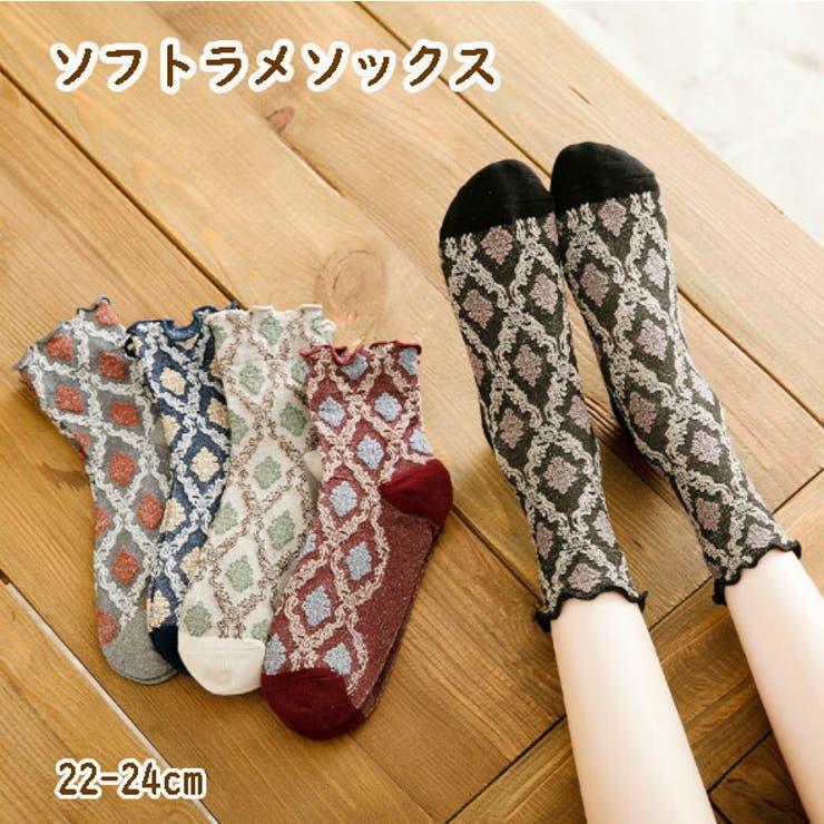 ソフトラメ入り ソックス 靴下 レディース 22-24cm 5カラー | acefad | 詳細画像1