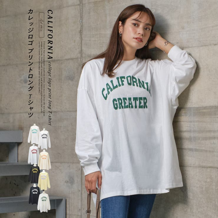 CALIFORNIA カレッジロゴ プリントロングTシャツ   ad thie   詳細画像1