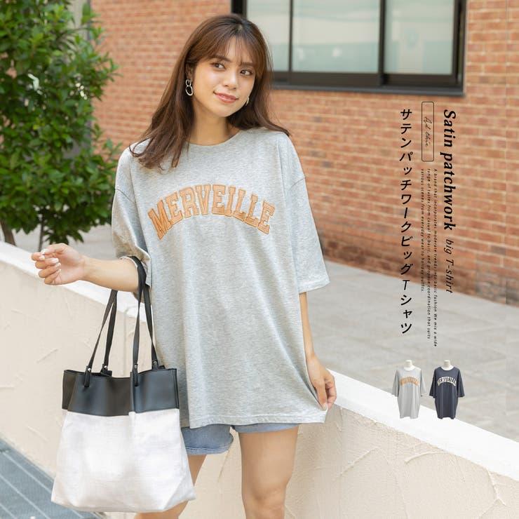 サテンパッチワークビッグTシャツ 半袖 オーバーサイズ | ad thie | 詳細画像1
