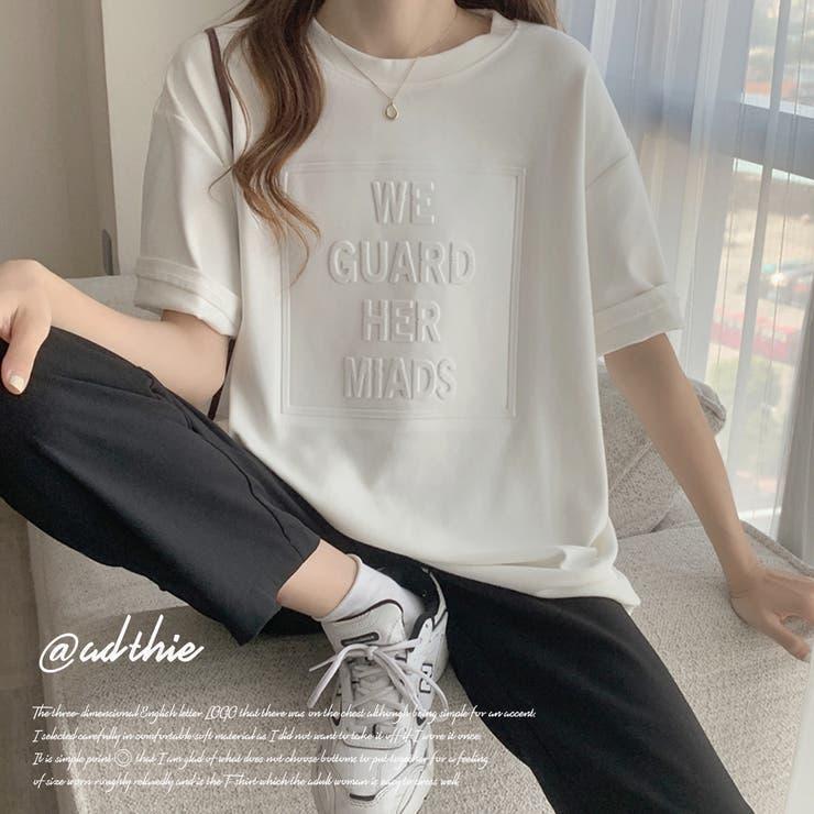立体ロゴTシャツ オーバーサイズ ビッグシルエット 英字 半袖 夏 秋   ad thie   詳細画像1