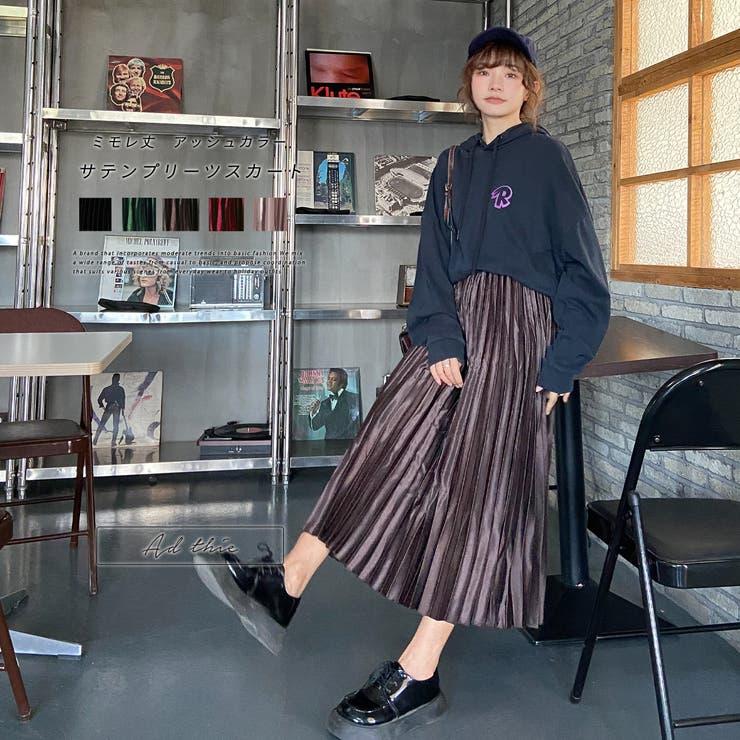 【2021AW新作】サテンプリーツロングスカート  秋 冬 | ad thie | 詳細画像1