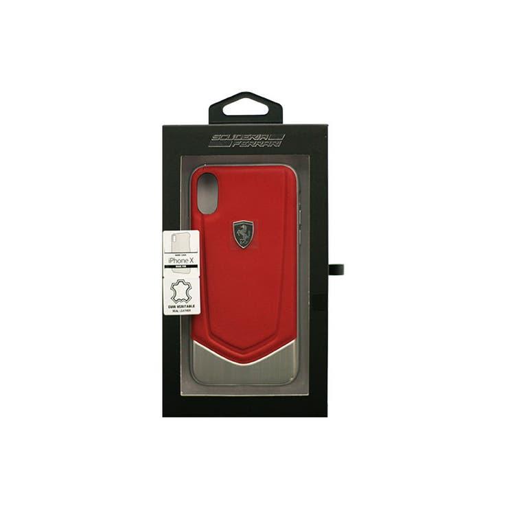 Ferrari公式ライセンス商品iPhoneXHERITAGEHardCasewithaluminiumVstripeRed本革+アルミ+TPUハードケース/ケース下部アルミFEHTOHCPXRE   詳細画像