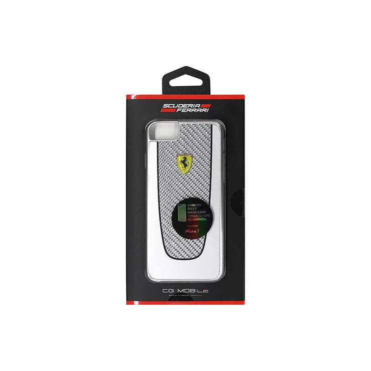 Ferrari公式ライセンス商品iPhone8/iPhone7PITSTOPHardCaseBlackTrimSilverCarbondesignガラスファイバーハードケースカーブランドFEPICHCP7SI   詳細画像