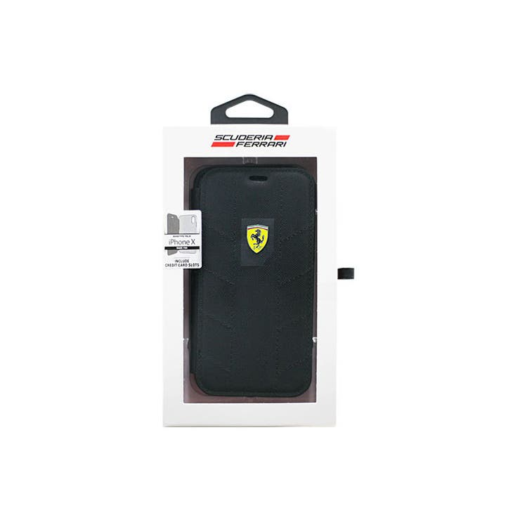 Ferrari公式ライセンス商品iPhoneXSFBooktypeCaseRacingTyresBlackナイロン+TPU手帳型ケースカーブランドポケット内側3個マグネット無しFESCODFLBKPXBK | 詳細画像
