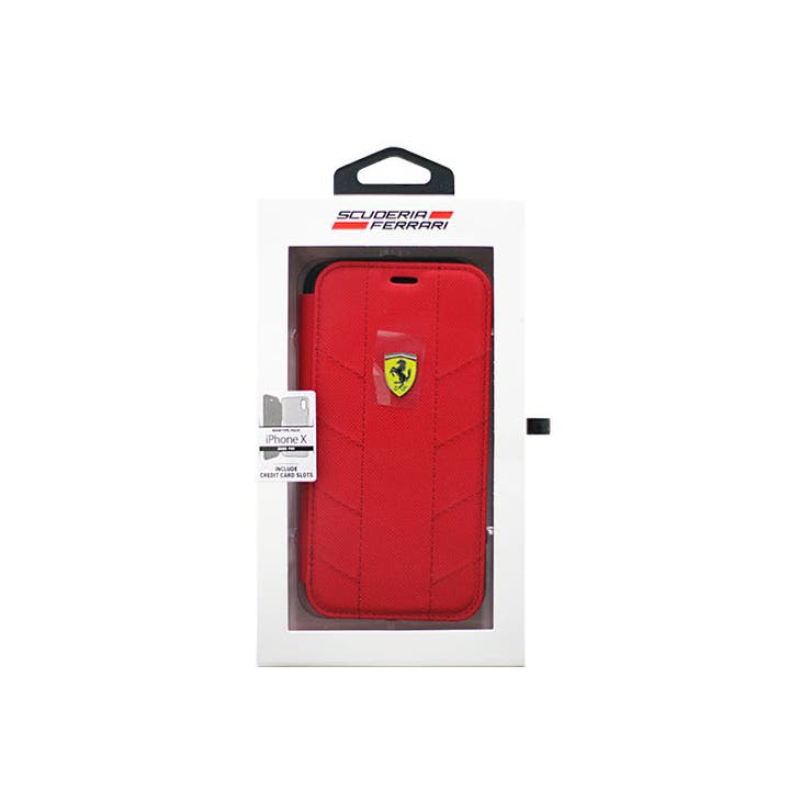 Ferrari公式ライセンス商品iPhoneXSFBooktypeCaseRacingTyresRedナイロン+TPU手帳型ケースカーブランドポケット内側3個マグネット無しFESCODFLBKPXRE | 詳細画像