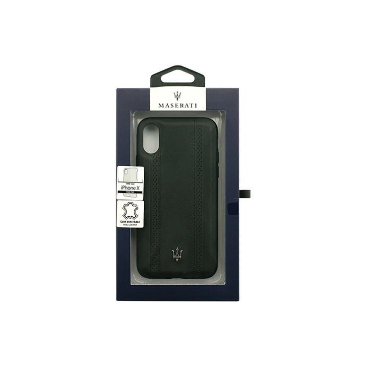 MASERATI公式ライセンス商品iPhoneXケースMASERATIGRANLUSSO-CRAFTED-本革GenuineleatherハードCase-ブラック自動車ブランドメンズおしゃれかっこいいシンプルエアージェイMAGPEHCPXBK | 詳細画像