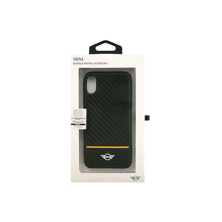 MINI公式ライセンス商品iPhoneXRealCarbonFiberPC/TPUHybridCasePUレザーOrangeStripeカーボン+PU+TPUハードケースカーブランド※ワイヤレス充電非対応MIRCHCPXOR | 詳細画像